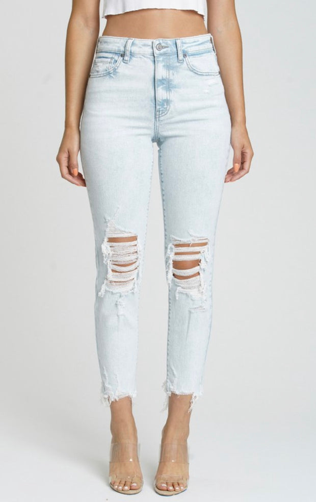 TOBI HIGH RISE DISTRESSED JEANS (LIGHT DENIM)