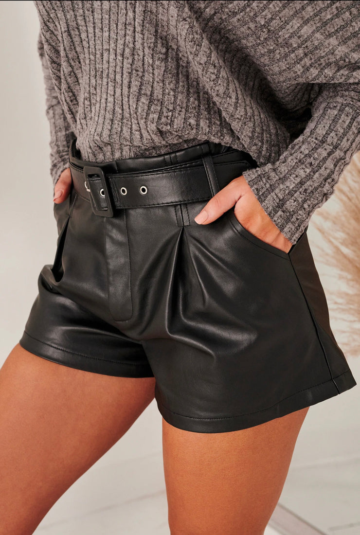 DREAMING OF DESIGNER FAUX LEATHER SHORTS (BLACK)