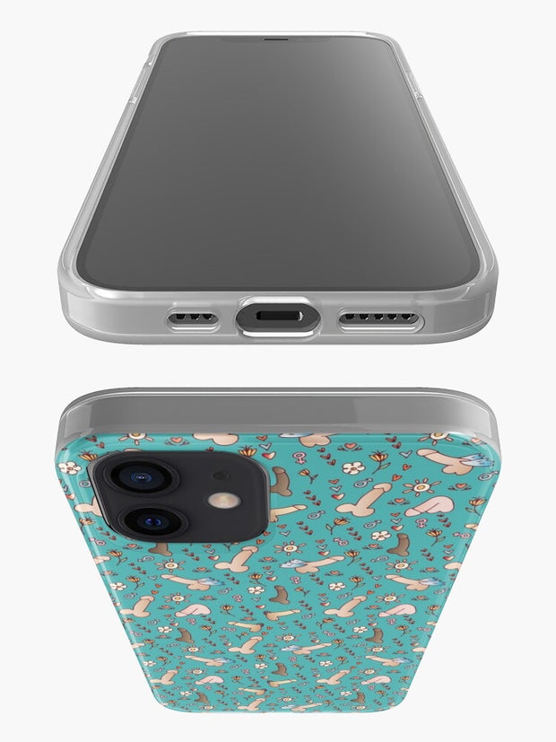 Flying penis Pattern iPhone Case