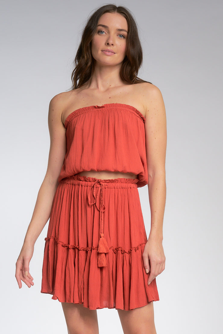 MIMI STRAPLESS CROP TOP (AUBURN)