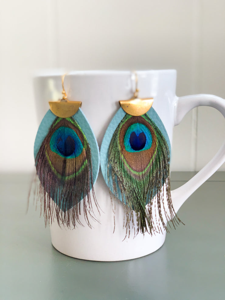 Somebody To Love Peacock Earrings (Teal Multi)