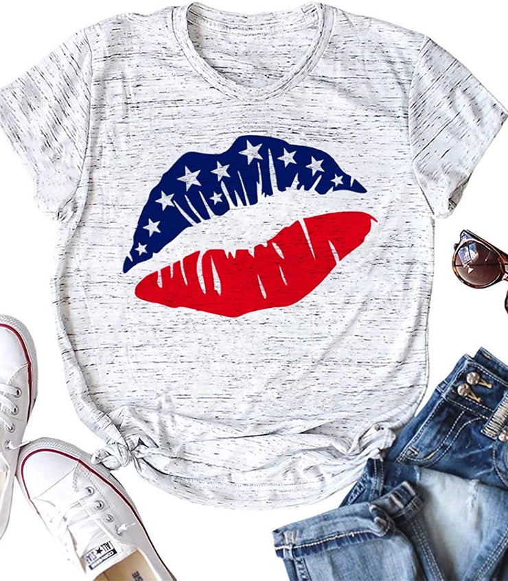 Vintage Lips Graphic Tee (Ash)