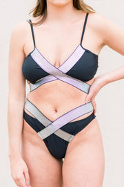 Out Of Your League Two Piece Bikini Set (Black/Silver)