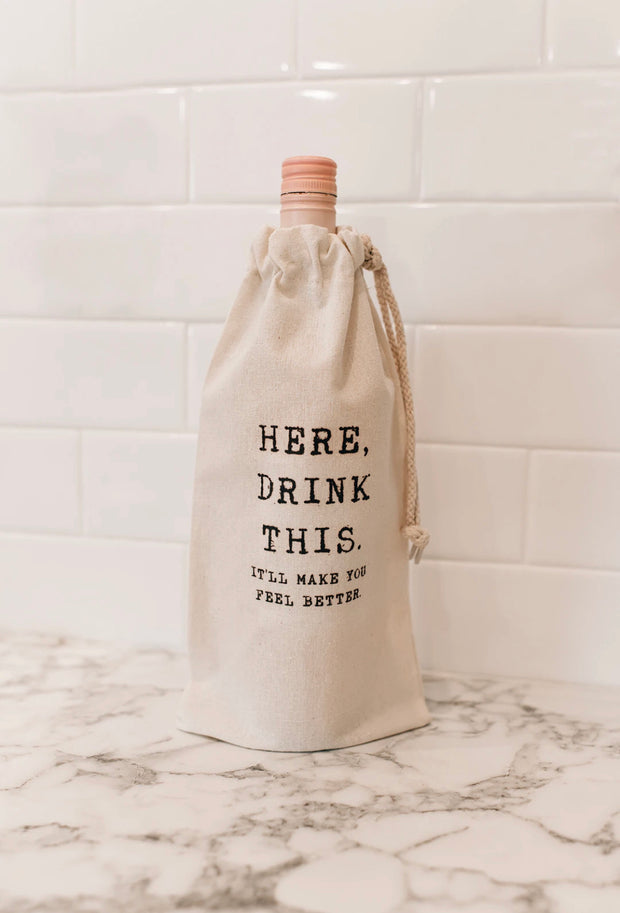 """HERE, DRINK THIS"" WINE GIFT TOTE (HERE, DRINK THIS)"