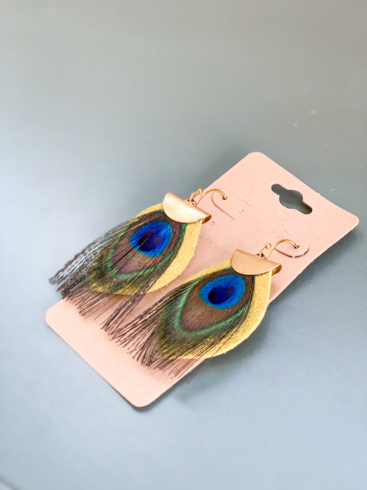 Don't Mess Around Drop Earrings (Small Peacock)