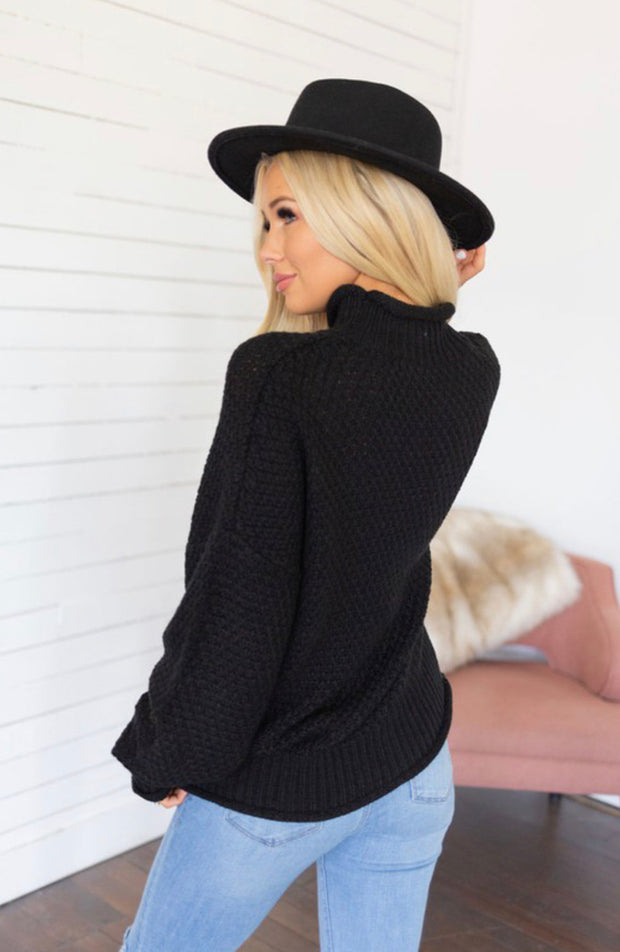 FALL FOR YOU TURTLENECK SWEATER (BLACK)
