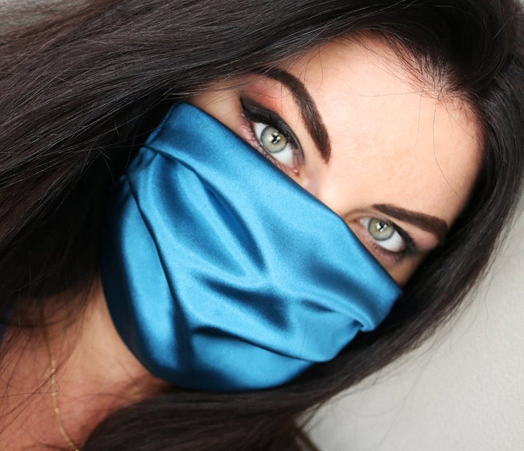 Satin Silk Face Mask (Royal Blue)