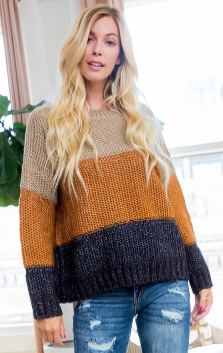Tea With Me Colorblock Sweater (Rust/Navy)