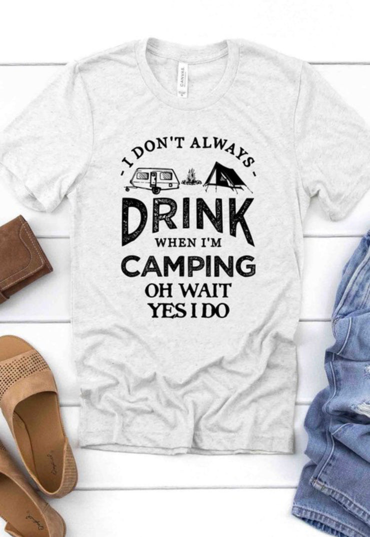 Drinking And Camping Graphic Tee (White)