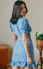 ONE FOR ME FLOAL TWO PIECE SKIRT SET (BLUE)