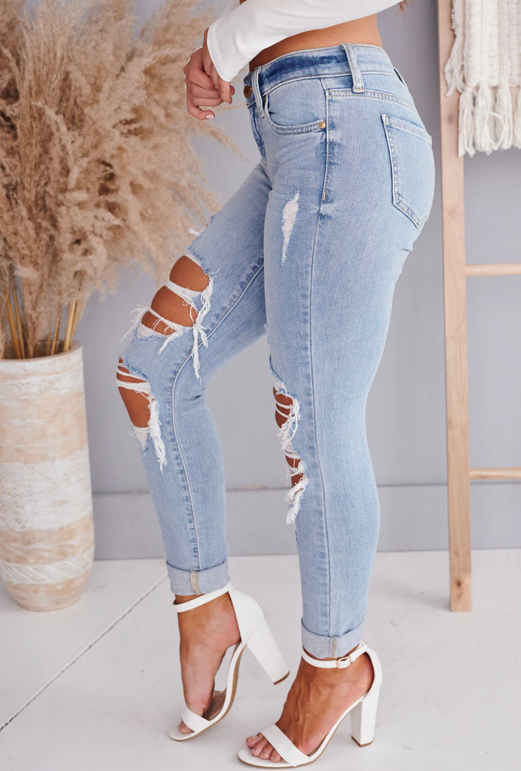 ONE GOOD REASON DISTRESSED SKINNY JEANS (LIGHT)