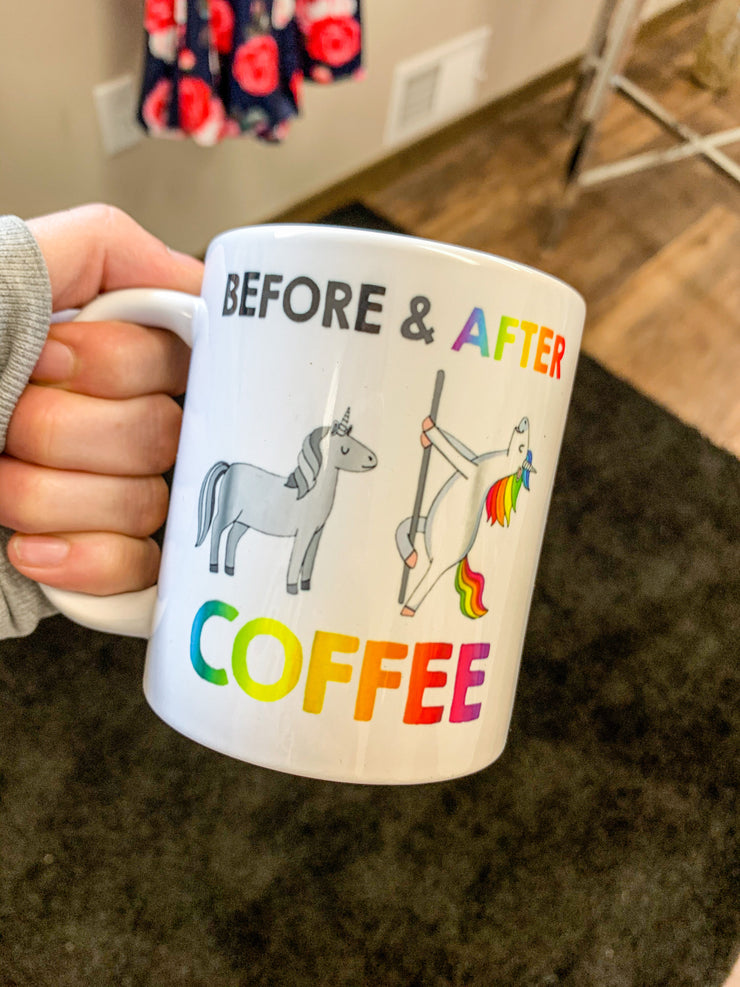 Before Coffee After Coffee Mug