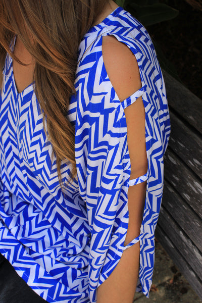 Blue and White Cutout Top