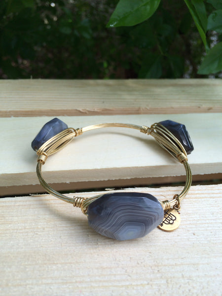 Gray and Black octagon stone bangle