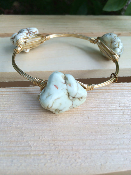Sea foam green rock bangle