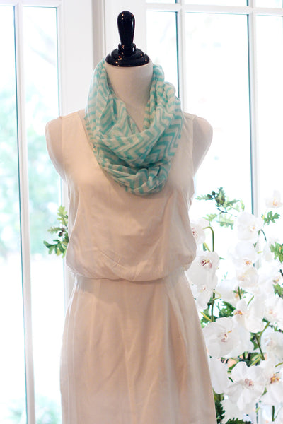 Chevron Infinity Scarf - Light Blue
