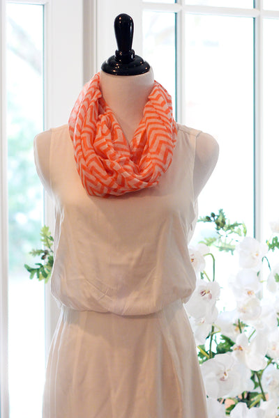 Chevron Infinity Scarf - Orange