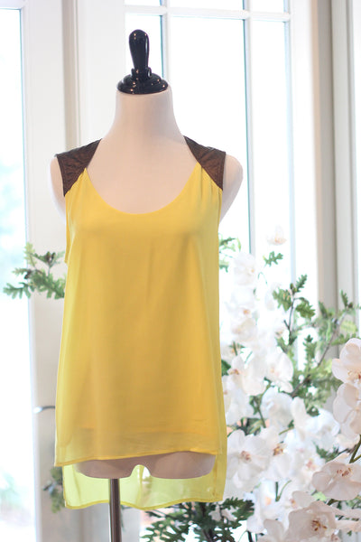 Yellow & Espresso Shoulder Top