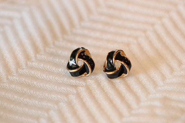 Black & Gold Love Knot Studs