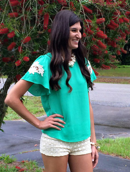 Mint Embroidered Shoulder Top