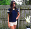 Navy Embroidered Shoulder Top