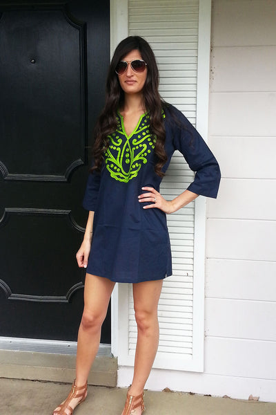 Navy & Green Tunic