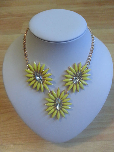 Yellow Crystal Flower Necklace