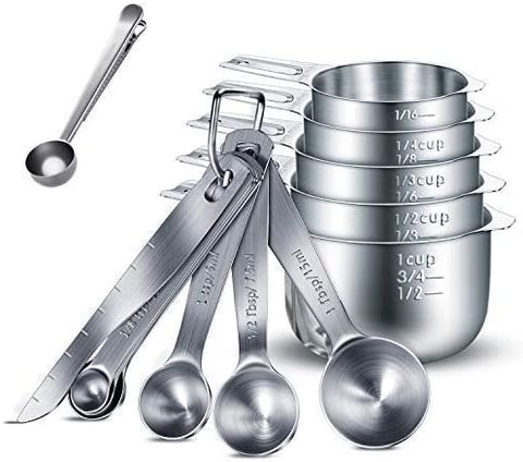 13 piece Measuring Cup & Spoon Set - Premium 304 Stainless Steel Measuring cups ranging in sizes  cup, ¼ cup, cup, ½ cup & 1 cup Measuring spoon ranging in sizes  tsp, ¼ tsp, ½ tsp, & 1 tsp, ½ Tbsp, 1 Tbsp. Package with bonus 2 in 1 coffee clip spoon