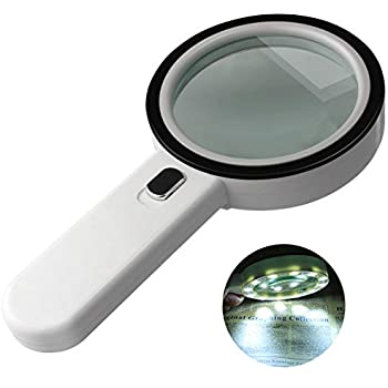 Welltop LED Illuminated 10X 20X Magnifying Glass with 90mm Lens & 2 LED Lights