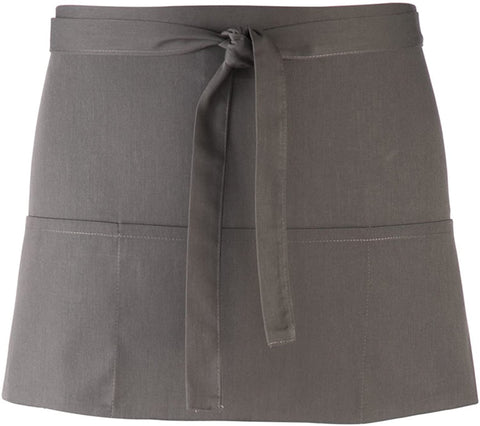 Premier Workwear Adult Unisex PR155 Short Waist Apron with 3 Open Pockets - Dark Grey