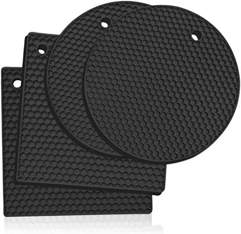 5 Pcs Extra Thick Silicone Pot Coaster Trivet Mats,Heatproof Pot Holder/Hot Pads,Non Slip Durable Flexible Table Mats Round Honeycomb Multipurpose Kitchen Heat Resistant Mat (Black)