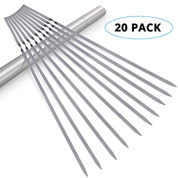 "14"" / 35 cm BBQ Skewers (Set of 20), 100% Food-Grade 304 Stainless Steel Flat Metal Skewers with Portable Storage Tube"