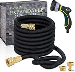 25ft Expandable Flexible Garden Hose Pipe with Brass Fittings & 8 Pattern Spray Nozzle