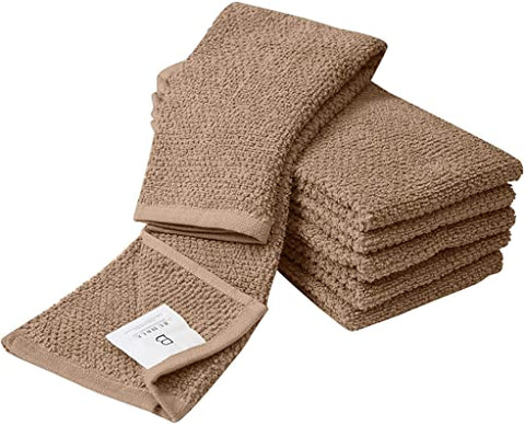 "6 Pack Large Tea Towel Set / 16"" x 26"" / 40 x 66 cm/Solid Color with Popcorn Texture/Vibrant Dyed Cotton Kitchen Hand Towels/Thick, Plush, Long Lasting Tea Towels (Grey) **Also available in Aqua, Tan & Red**"