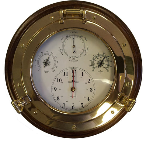 Meridianzero Wood Mounted Porthole Meridian Clocks and Barometers