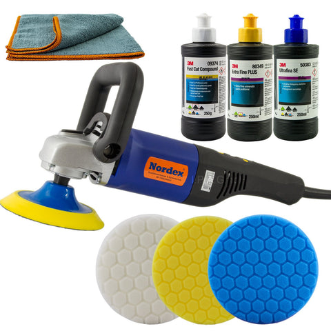 3M Complete Rotary Kit includes 3M Rotary Polisher, 125mm Ultra Soft Backing Plate, 3M Fast Cut Plus (1L), 3M Extra Fine Polish (1L), 3M Ultrafina Finishing Polish (1L), Green Compounding Pad, Yellow Polishing Pad, Finishing Pad