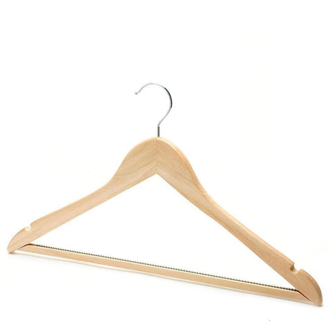 Wooden Hanger with Non Slip Bar & Notches