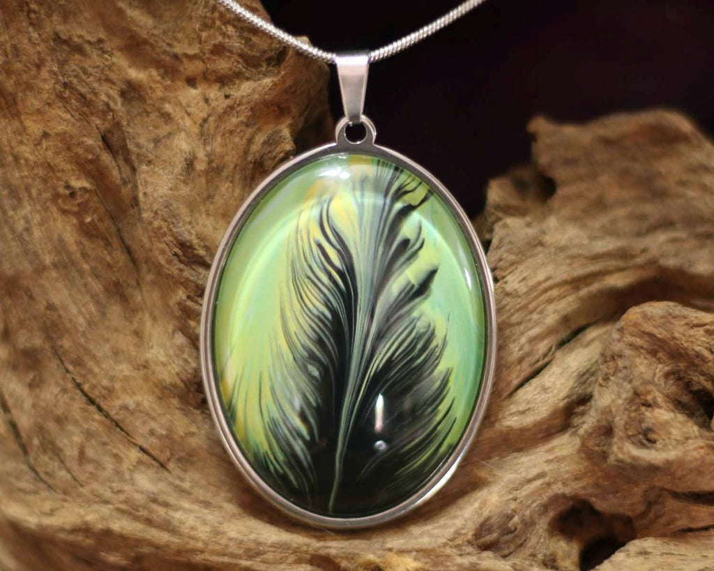 Stainless Steel hanger Oval L - Magestic Feather