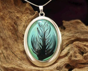 Oval amulet  L - Black Feather