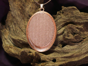 Oval amulet L - Pink 'n Grey