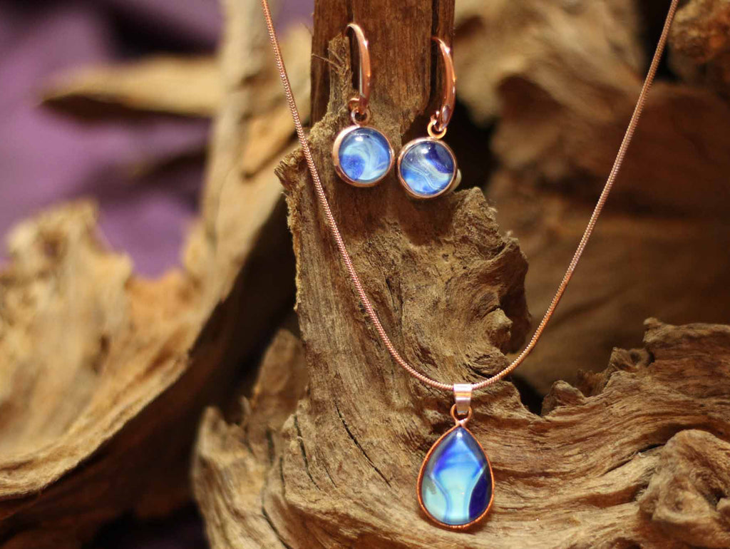 Set of a Drop hanger & small round Earrings- Ocean
