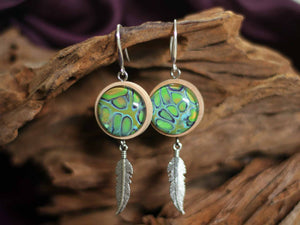 Earrings Wood & feather - Rainforests Treasure