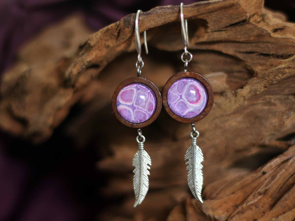 Earrings Wood&Freather - Purple Rain