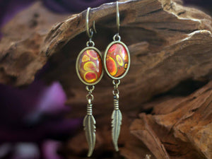 Earrings feather - Ruby Stones