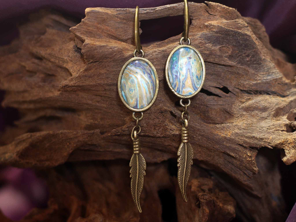 Earrings feather - Satin