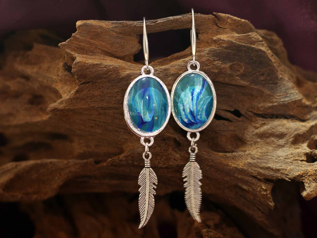Earrings feather - Waterfall