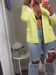 """Neon Lights"" Blazer (Lime) - Ayala V. Collection Women's Apparel Style Shop"