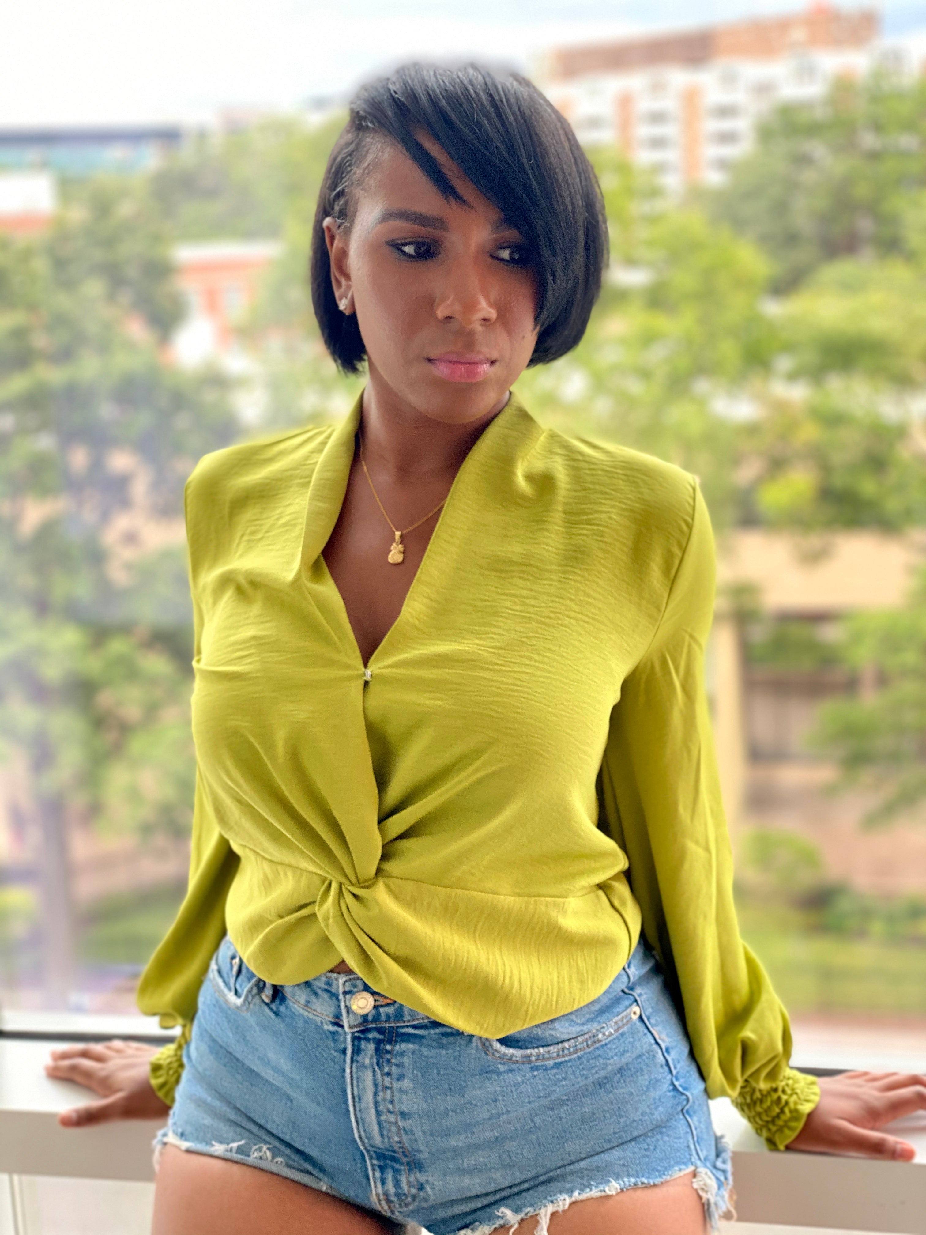 """Classy Type"" Twist Front Blouse - Ayala V. Collection Women's Apparel Style Shop"
