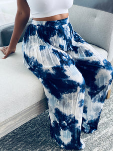 """Island Vibes"" High Waist Wide Leg Pants (Navy Mix) - Ayala V. Collection Women's Apparel Style Shop"