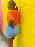 "Load image into Gallery viewer, ""Got Me Twisted"" Neon Orange Crop Top - Ayala V. Collection Women's Apparel Style Shop"